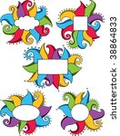 a collection of 5 doodle frames ... | Shutterstock .eps vector #38864833