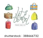 hand drawn watercolor travel... | Shutterstock . vector #388666732