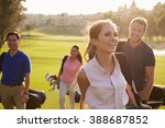 group of golfers walking along... | Shutterstock . vector #388687852