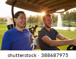 male golfers driving buggy...   Shutterstock . vector #388687975