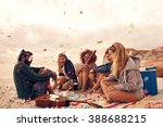 happy friends partying on the... | Shutterstock . vector #388688215