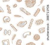 seamless pasta pattern on white | Shutterstock .eps vector #388711936