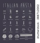 pasta collection on chalkboard | Shutterstock .eps vector #388712002