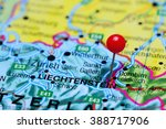 vaduz pinned on a map of... | Shutterstock . vector #388717906