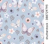 seamless pattern with flying... | Shutterstock .eps vector #388729795
