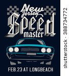 speeding racing car with... | Shutterstock .eps vector #388734772