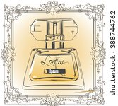 vintage bottle of perfume with...   Shutterstock .eps vector #388744762