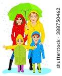happy family in raincoats... | Shutterstock .eps vector #388750462