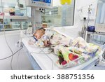 Small photo of Sofia, Bulgaria - March 1, 2016: A baby with a cardiac disease is lying in a bed in a cardilogical children's hospital. High-quality treatment with modern equipment.