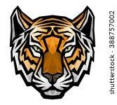 tiger head logo mascot on white ... | Shutterstock .eps vector #388757002