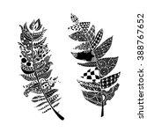 art feather  zentangle style... | Shutterstock .eps vector #388767652