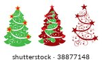 three abstract christmas tree... | Shutterstock .eps vector #38877148