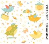 cartoon funny little bird... | Shutterstock .eps vector #388781566