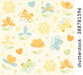 vector floral pattern in doodle ... | Shutterstock .eps vector #388781596