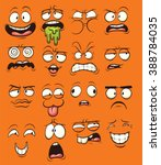 funny cartoon faces. vector... | Shutterstock .eps vector #388784035