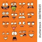 funny cartoon faces. vector... | Shutterstock .eps vector #388784035