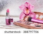 makeup and an pink orchid  | Shutterstock . vector #388797706