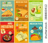 mexican food menu mini posters... | Shutterstock .eps vector #388803412