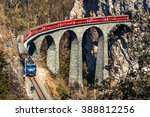 red bernina express train and... | Shutterstock . vector #388812256