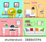 set of modern living room... | Shutterstock .eps vector #388865596
