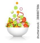 sliced fresh vegetables are... | Shutterstock .eps vector #388887586