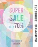 sale vector banner on polygon... | Shutterstock .eps vector #388888078