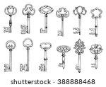 ancient keys vintage engraving... | Shutterstock .eps vector #388888468