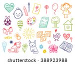 funny children drawing vector... | Shutterstock .eps vector #388923988
