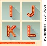 vintage light bulb sign letters ... | Shutterstock .eps vector #388964005