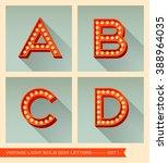 vintage light bulb sign letters ... | Shutterstock .eps vector #388964035