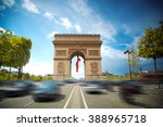 arc de triomphe at sunset in... | Shutterstock . vector #388965718