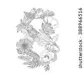 linear black on white floral... | Shutterstock .eps vector #388966516