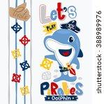 cute cartoon pirate dolphin on... | Shutterstock .eps vector #388989976