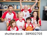 cheerful family with... | Shutterstock . vector #389002705