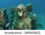 statues underwater | Shutterstock . vector #389005822