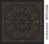 sun. abstraction. linear vector ... | Shutterstock .eps vector #389012686
