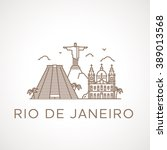 trendy line illustration of rio ... | Shutterstock .eps vector #389013568
