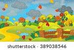 Cartoon Autumn Nature Scene  ...