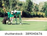 golf. golfer reading the green... | Shutterstock . vector #389040676