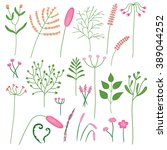 drawing set of different plants ... | Shutterstock .eps vector #389044252