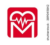pulse and heart logo vector. | Shutterstock .eps vector #389045842