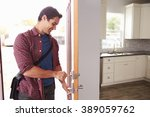 man coming home from work and... | Shutterstock . vector #389059762