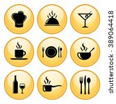 food   restaurant icons gold... | Shutterstock .eps vector #389064418