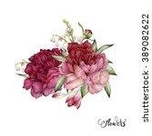 bouquet of peonies  watercolor  ... | Shutterstock . vector #389082622