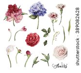 flowers and leaves  watercolor  ... | Shutterstock . vector #389082628