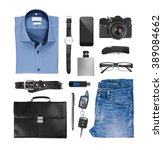collage of male clothes and... | Shutterstock . vector #389084662