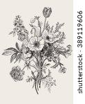 victorian bouquet. spring... | Shutterstock .eps vector #389119606