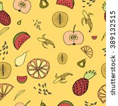 fruits seamless pattern for... | Shutterstock .eps vector #389132515