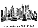 panorama city illustration.... | Shutterstock .eps vector #389149162