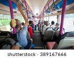 inside bus with many passenger... | Shutterstock . vector #389167666